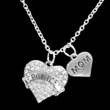 Crystal Police Heart Officer Mom Gift Charm Necklace