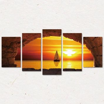 5Piece/Set Beach Scenery Sunset Sailing Canvas Decorative Painting The Living Room Bedroom Modern Oil Painting (No Frame)