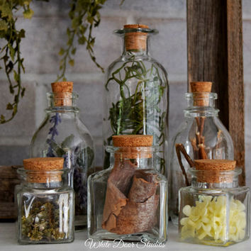 Decorative Herbal Apothecary Bottles, Set of 6, Decorative Glass Bottles, Potion Bottles, Unique Home Accents