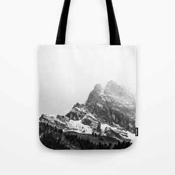 Black and White Snowy Mountain Tote Bag by ARTPICS