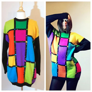 80s Oversized Sweater Dress Angora Lambswool Color Block Sequin Detail Avant Garde size Medium