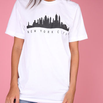 New York City Skyline White Graphic Unisex Tee