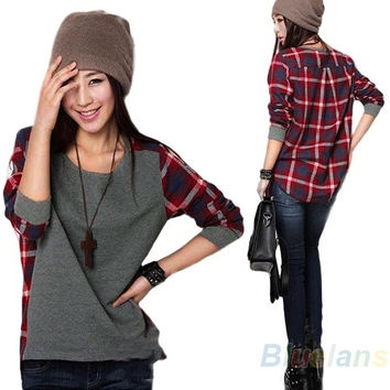 Womens Fashion Loose Long Sleeve Plaid t-shirt Blouse Top ( pls choose a biger size if you want it looks loose )
