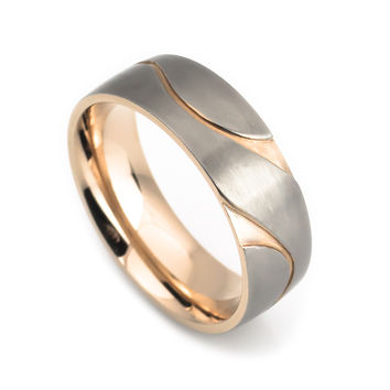 Titanium ring rose gold plated for men