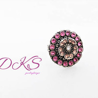 Swarovski Flower Ring, Pink, Adjustable, Round, Statement, Summer Jewelry, DKSJewelrydesigns, FREE SHIPPING