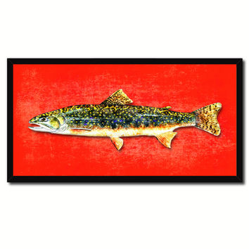 Brook Trout Fish Art Red Canvas Print Picture Frames Home Decor Nautical Fisherman Gifts