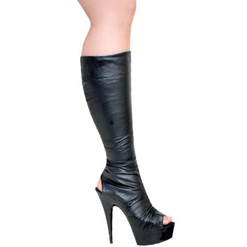 Leather Knee High Platform Stripper Boot