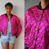 Vtg Jewel Buttons Pink Quilted Crop Jacket