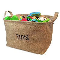 "Jute Storage Bin for Toy Storage, Medium Size 14x10.5x9""- Storage Basket for organizing Baby Toys, Kids Toys, Baby Clothing"