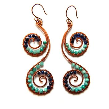 Double Spiral copper handmade earrings wire wrapped with amazonite and apatite stones