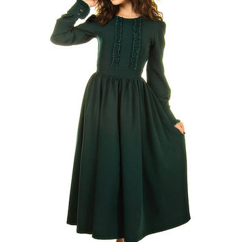 Dark green Maxi dress, tea length dress, long sleeve dress for woman elegant dress long