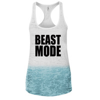 Beast Mode Ombre Burnout Racerback Tank - Great For Gym - Great Motivation