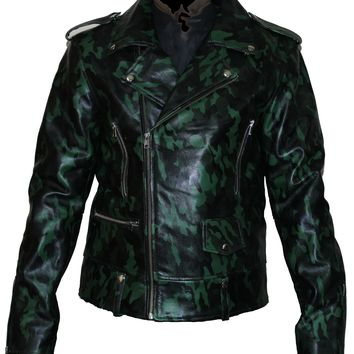Forest Green Military Camouflage Leather jacket