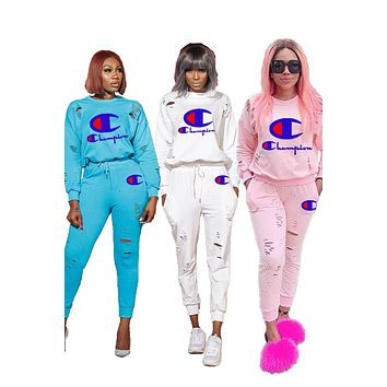 Champion hot seller of women's embroidered LOGO casual ripped suit