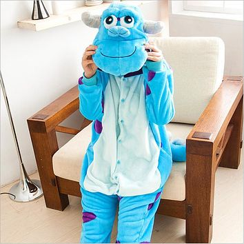 Winter Adult Unisex Animals Sleep Coat Pajamas Flannel Monsters Inc. Sulley Pajama Sets Women Popular Cosplay Pyjama Oneises