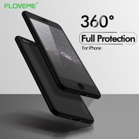 FLOVEME 360 Protective Case For iPhone 6 6S 7 8 Plus X XS Max XR Glass Front Cover For iPhone X 8 7 6S 6 5S Full Coverage Shells