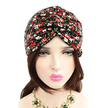 Fashion Knitted hat Women Floral Printed Cancer Chemo Hat Pre-Tied Headwear Bandana Beanie Scarf Turban Head Wrap Cap