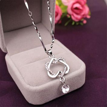 Women Elegant Necklace Gold Silver Chain Crystal Rhinestone Double Heart Pendant Necklaces Ladies Fashion Jewelry Gift Drop Ship