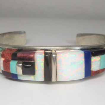 Vintage Navajo Raised Cobble Inlay Cuff Bracelet 6 3/4 Inches