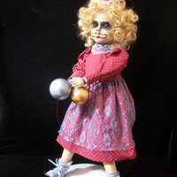 Creepy Christmas Prop Altered Art Doll Christmas Carol Holiday Horrible Merry Monster OOAK Goth Winter Weird Oddity Ghost /L.Cerrito