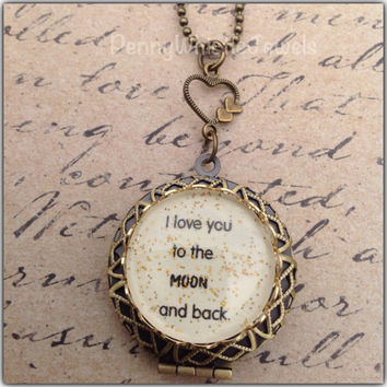 I Love You To The Moon & Back Locket, Photo Locket, Mom Jewelry, Picture Locket, Quote Locket, Quote Jewelry, Mother's Day Gift