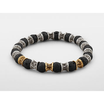 Lava Beads, Three Gold Links, Oxidized Sterling Silver Bracelet