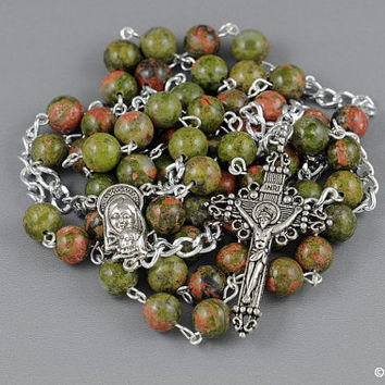 Wire Wrapped Rosary Unakite Granite Silver Catholic