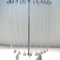 Antique Silver Color 24 Hooks Rotating Necklace Holder Jewelry Organizer Display Stand