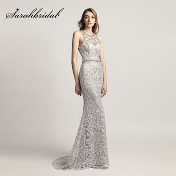 New Arrival Silver Crystal Mermaid Evening Dresses 2018 Cheap Long Fashion Prom Dress Illusion Back Pageant Party Gowns OL436