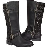 Sequin Quilted Rider Boots