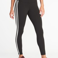 High-Rise Side-Stripe 7/8-Length Compression Leggings for Women | Old Navy