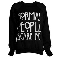 FashionMark Women's Normal People Scare Me Print Fleece Sweatshirt Hoodie Top - 7 Colors - Size 6-12
