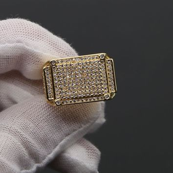 Fashion Rings Square Big Width Signet Rings delicate gold man Finger clear bling shiney cz Gold Men Ring Jewelry anel New cheap