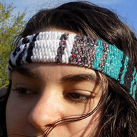 CLEARANCE Turquoise Mexican Blanket Thick Headband - Free Shipping to Continental US