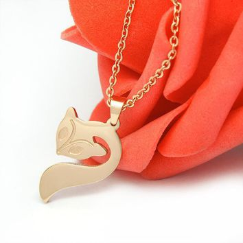 Hot cute fox rose gold necklace package including chain SP275