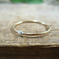 Stacking Ring Gold with Silver Dot