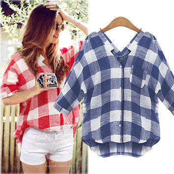 Bat-wing Mid-length Sleeves V-neck Casual Plaid Blouse