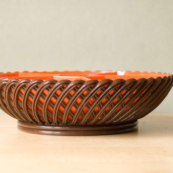 Serving dish divided from the '70s, brown and orange plastic by Emsa