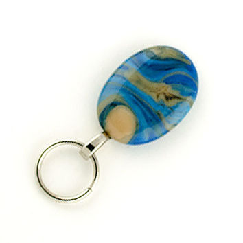 Magnetic ID Holder - Magnetic Eyeglass Holder, Blue lampwork glass lanyard