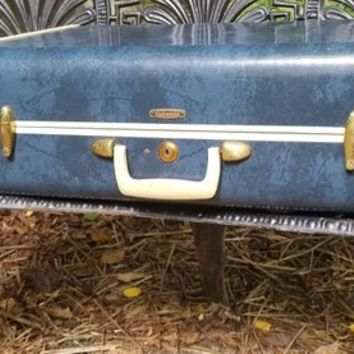 Vintage Marbled Blue Samsonite Suitcase 4721 Ladies Overnight Case