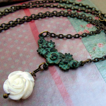 Valentine necklace White Rose necklace simple jewelry Patina necklace