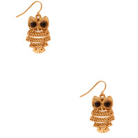FOREVER 21 Kitschy Owl Drop Earrings Gold One