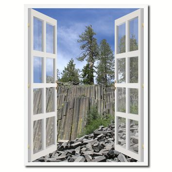 Devils Tower National Monument Picture French Window Canvas Print with Frame Gifts Home Decor Wall Art Collection