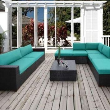 DCKL9 2017 Home And Gardens Outdoor Wicker Furniture 8 Piece Patio Sectional Conversation Se