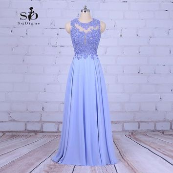 Beaded Prom Dress Lavender Lace Appliques Graduation Party Dress Chiffon Long Gown Vestidos Formatura 2018 New Arrival Backless