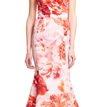 Halter Floral Printed Satin Mermaid Gown with Train - Adrianna Papell