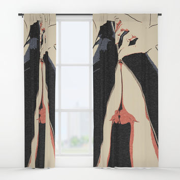 Undress me - sexy rear view, kinky no lingerie erotic, fit and hot body girl nude, adult artwork Window Curtains by Casemiro Arts - Peter Reiss