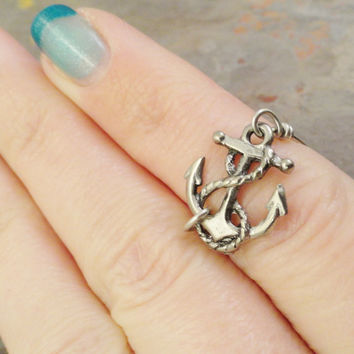 Silver Anchor Ring - Made in Your Size