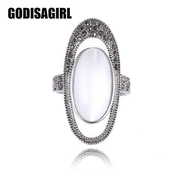 Vintage Luxury Big Oval Opal Stone Party Rings For Women Jewelry Antique Silver Plated Large Rhinestone Wedding Rings