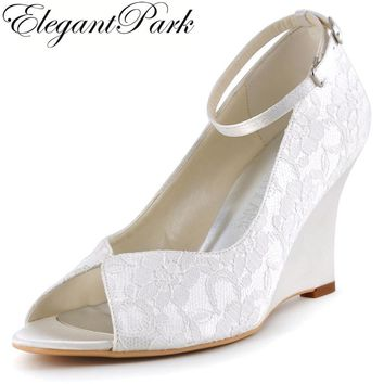 Woman Wedge Shoes White Ivory High Heel Peep Toe Ankle Strap Lace Bridesmaids Bride Wedding Shoes Evening Prom Pumps WP1415